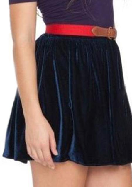 one size high waist velvet a line skirt fairyseason