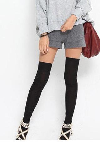 One Size Cotton Blend Long Socks