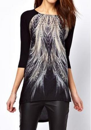 Crew Neck Peacock Tail Blouse