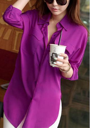 One Size Long Sleeve Chiffon Shirt