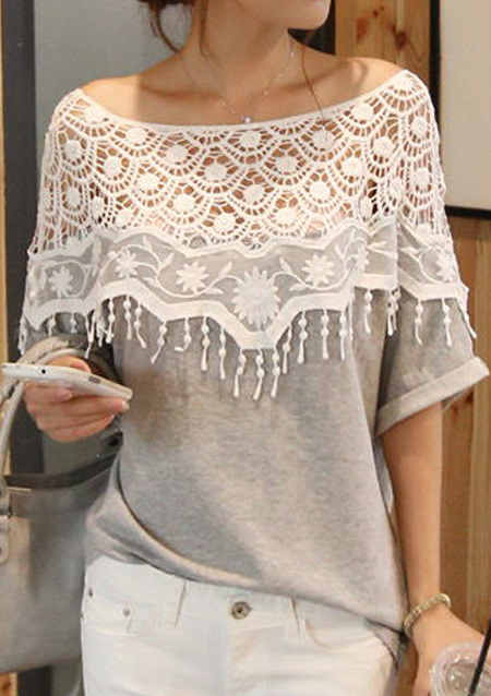Bluză de damă, fashion, din bumbac , cu inserții din dantelă și mâneci scurte