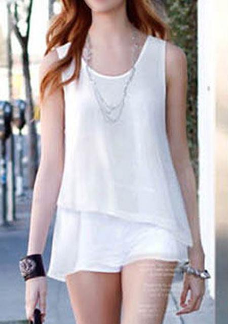 Bluză de damă, casual, din șifon, fără mâneci, guler rotund și tiv asimetric