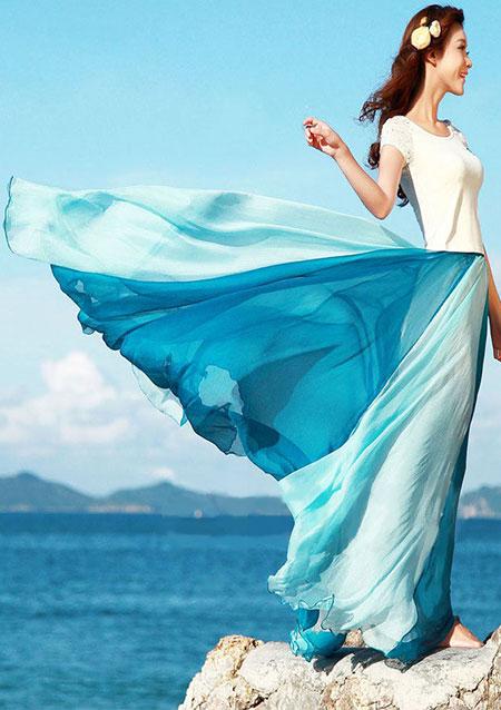 Fustă lungă, fashion, din șifon, cu imprimeu și talie înaltă