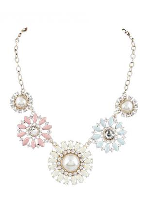 Rhinestone Bib Flower Collar Necklace