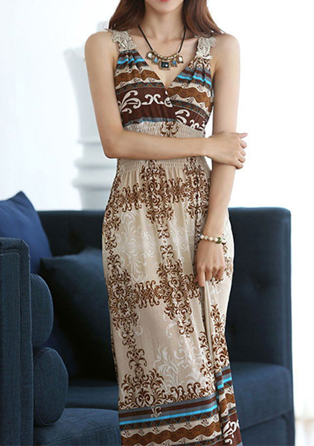 Rochie lungă, fashion, slim fit, fără mâneci, cu imprimeu și inserții din dantelă