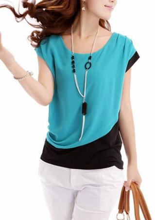One Size Splicing Chiffon Blouse