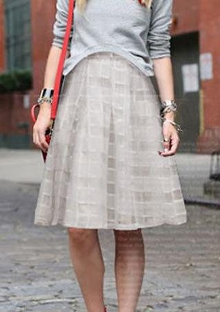 One Size Double Layer Pleated Midi Skirt One