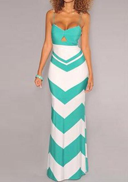 Rochie lungă, elegantă, mulată, cu dungi imprimate, fără mâneci, cu spatele gol
