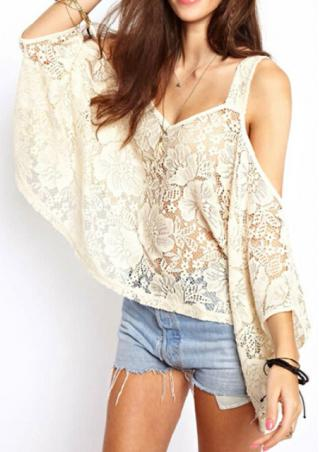 One Size Lace Off Shoulder Batwing Blouse