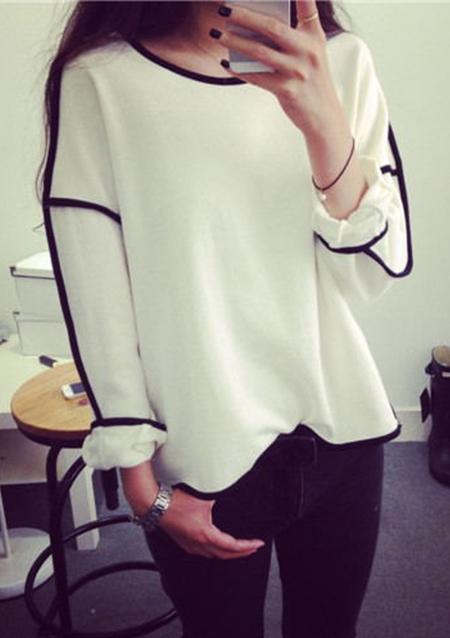 Bluză de damă, elegantă, fashion, din poliester, cu dungi de contrast