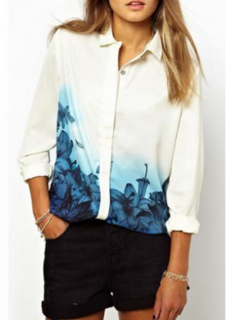 Flower Print Chiffon Long Sleeve Shirt