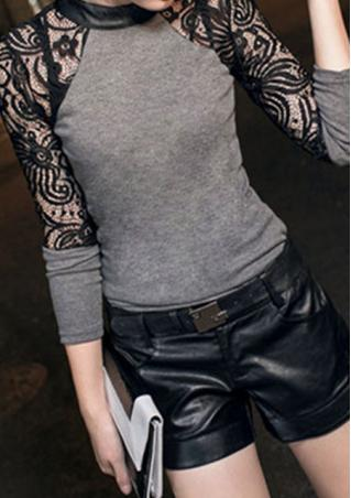 Lace Spliced Long Sleeve Blouse