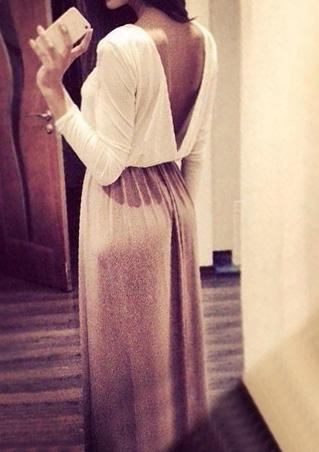 Chiffon Backless Maxi Dress