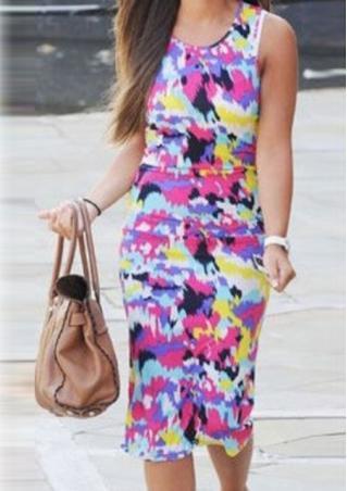 Bodycon Floral Printed Dress Bodycon
