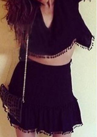 Backless Tassels Two Piece Dress