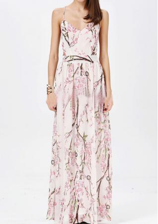Backless Printed Maxi Dresse