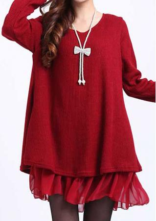 Plus Size Splice Knitted Dress Without Necklace
