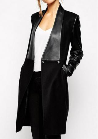Suede PU Leather Splicing Coat Suede