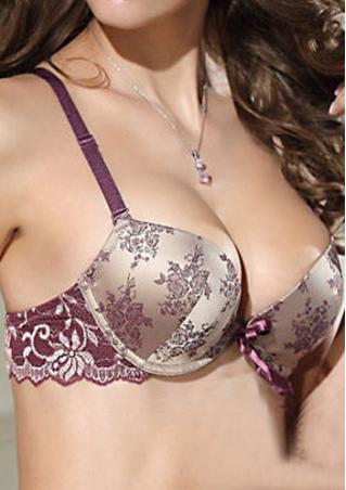 Lace Satin Print Push Up Bra Set