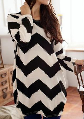 Long Sleeves Striped Loose Blouse