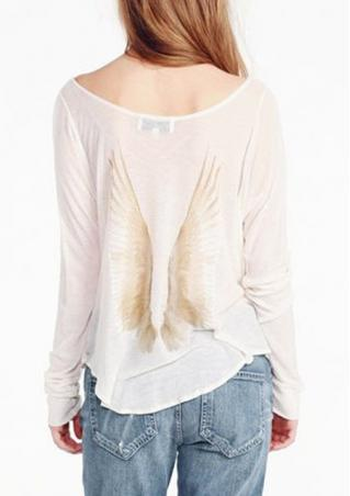 Loose Long Sleeve Wing Printed Blouse