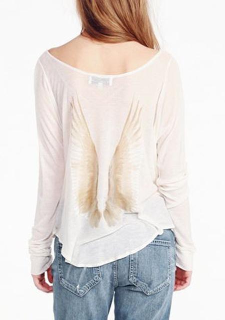 Bluză de damă, casual, din poliester, cu imprimeu, mâneci lungi și tiv curbat