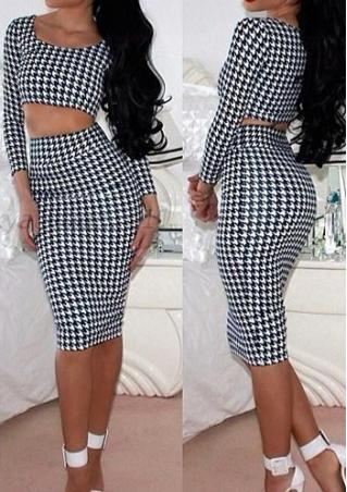 Houndstooth Skirt+Crop Top  Set