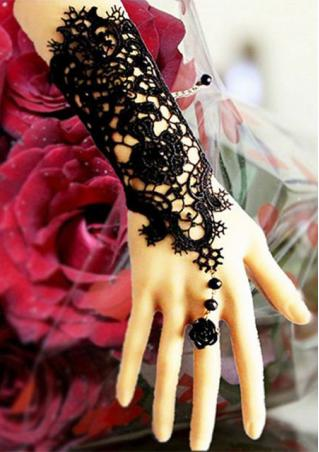 Black Beaded Lace Flower Bracelet Black