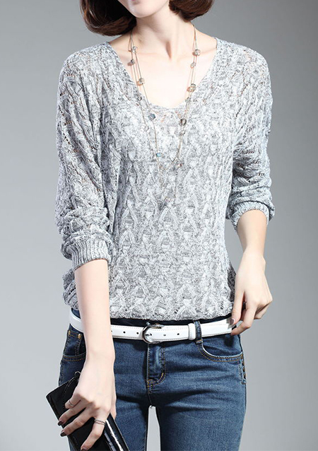 Pulover de damă, elegant, tricotat, din bumbac, cu mâneci lungi și guler rotund