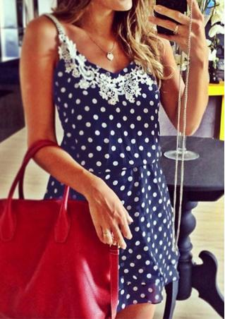 Lace Spliced Polka Dot Mini Dress Without Necklace