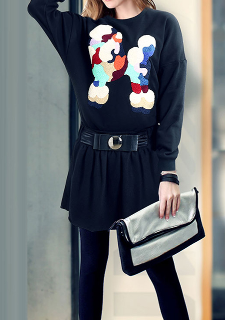 Pulover de damă, casual, din poliester, cu detalii brodate și mâneci lungi