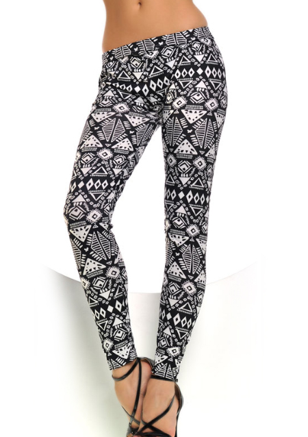 Pantaloni leggings de damă, eleganți, elastici, slim fit, din poliester, cu imprimeu floral