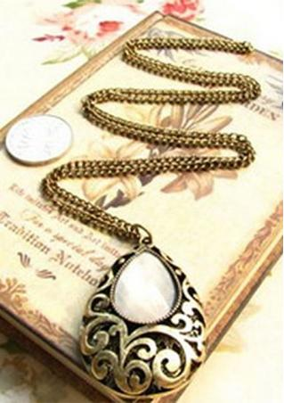 Water Drop Carved Hollow Long Necklace