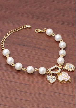 Heart Floral Pearl Rhinestone Bracelet