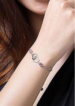 Double Heart Purple Crystal Chain Bracelet Double