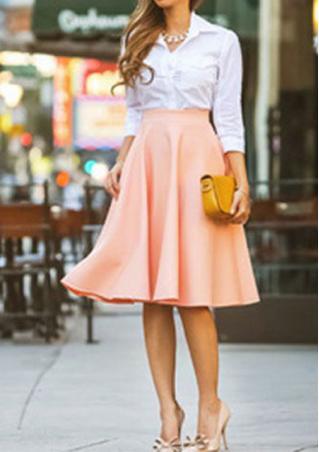 Pleated Midi A-Line Skirt Pleated
