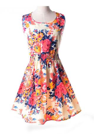 Sleeveless Chiffon  Floral Mini Dress