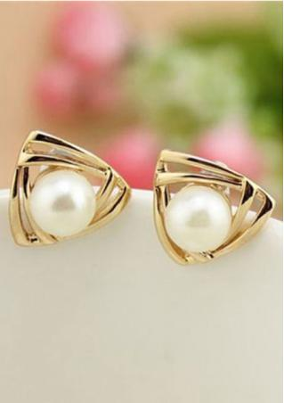 Triangle Gold Tone Faux Pearl Earrings