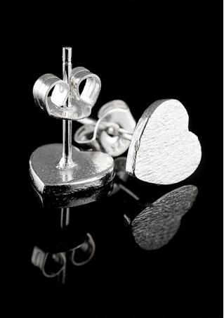 Frosted Heart 925 Sterling Silver Earrings
