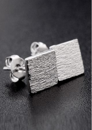 925 Sterling Silver Square Frosted Earrings