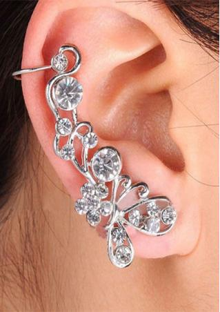 1Pc Silver Crystal Ear Cuff Clip