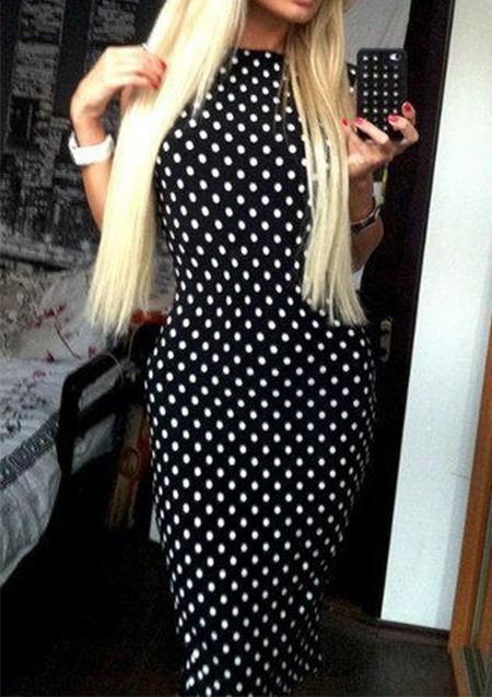 Rochie lungă, fashion, mulată, din poliester, cu buline imprimate