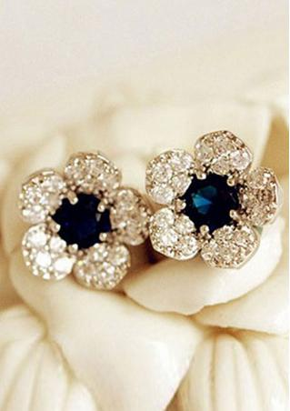 Blue Crystal Rhinestone Earrings Blue