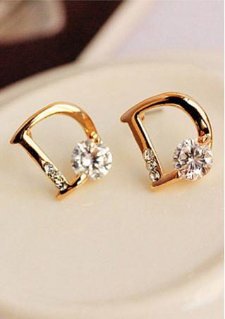 Letter D Rhinestone Earrings
