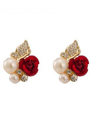 Pearl Red Rose Flower Ear Stud