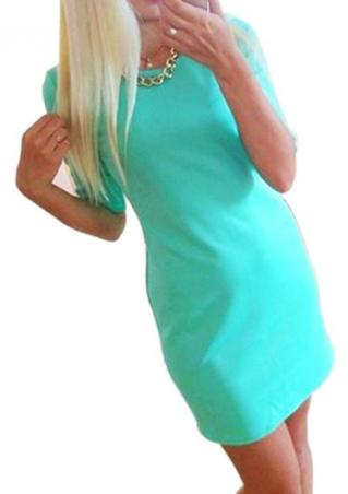 Half Sleeve Solid Mini Dress