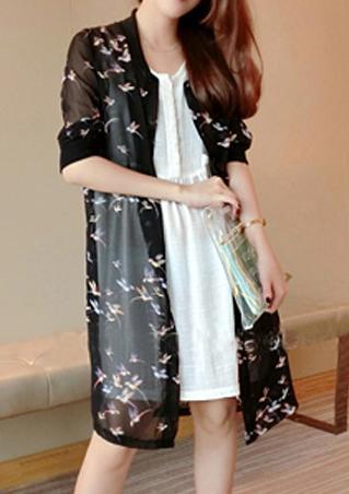 One Size Floral Print Kimono Cardigan
