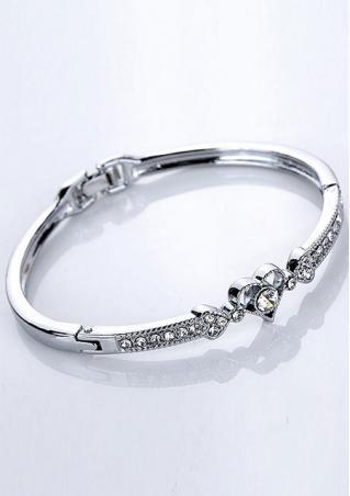 Silver Rhinestone Heart Bracelet