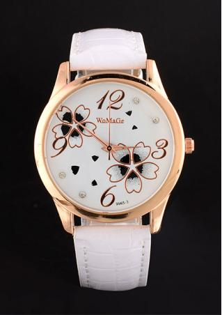 Stainless Steel Quartz Clover Pattern Watch
