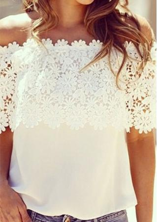 Off The Shoulder Lace Spliced Blouse